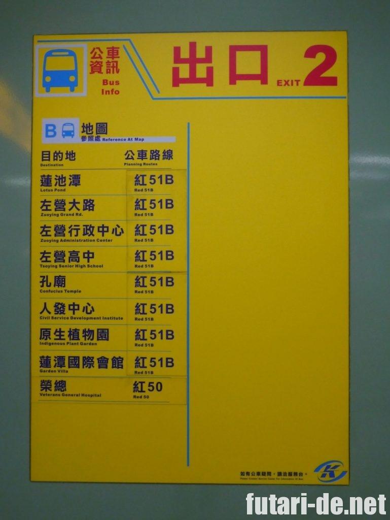 台湾高雄 生態園區駅出口表示