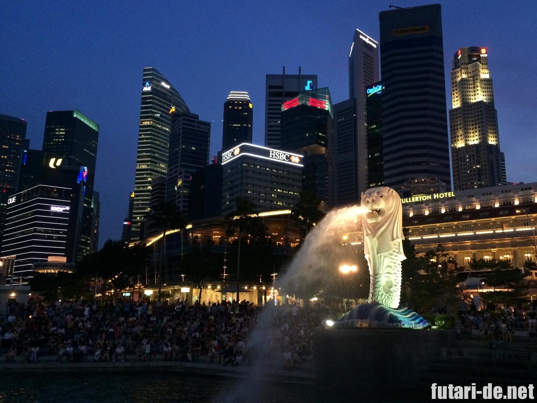 シンガポール マーライオン 夜景