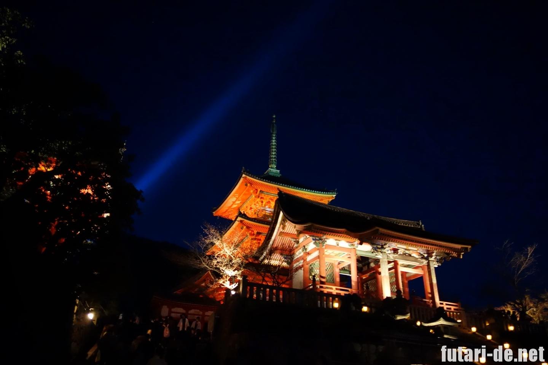 京都府 京都 清水寺 西門 三重塔 夜の特別拝観