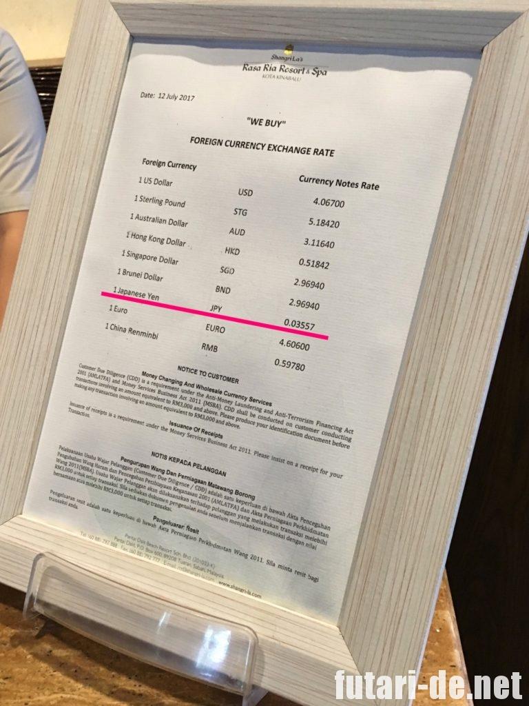 マレーシア コタキナバル国際空港 両替 ホテル