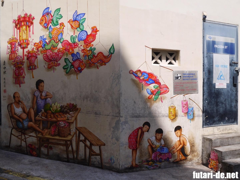 シンガポール チャイナタウン 中秋節 壁画 Yip Yew Chong