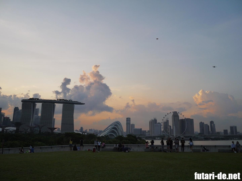 マリーナバレッジ シンガポール 夕焼け ドローン