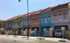 シンガポール カトン 路線バス 家カラフル プラナカン建築