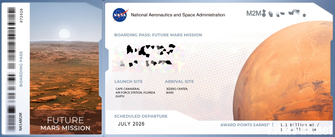 NASA 搭乗券 Boarding Pass 火星に名前を送る SEND YOUR NAME TO MARS
